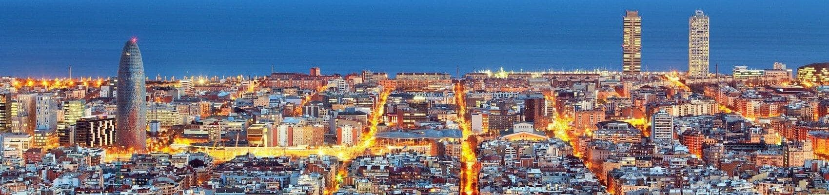 Aerial photography of Barcelona with the sea in the background.
